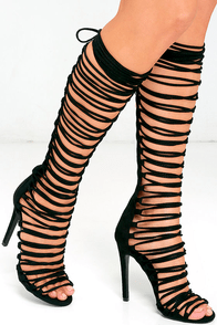 Ready to Work It Black Suede Lace-Up Heels
