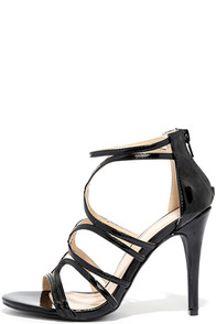 Feeling Flawless Black Patent Caged Heels