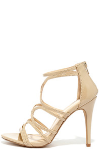 Feeling Flawless Nude Patent Caged Heels