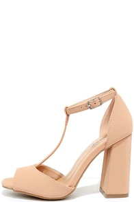 Heart Eyes Blush Nubuck T-Strap Heels