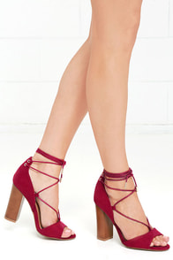 Quoth the Maven Crimson Red Suede Lace-Up Heels Image