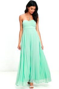 image Always Charming Strapless Mint Green Maxi Dress