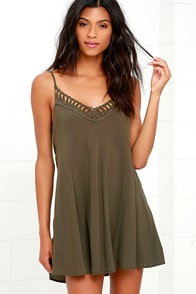 Lady Daydream Olive Green Crochet Dress