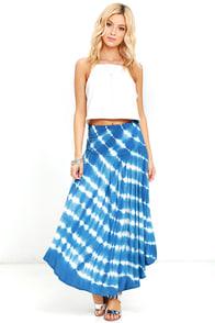 Piece by Piece Blue Tie-Dye Midi Skirt