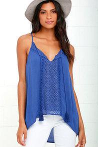 Sweet Soul Blue Lace Tank Top