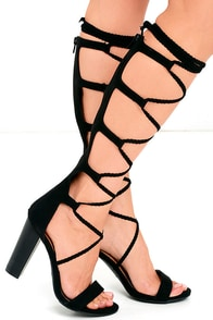 image Curtain Call Black Tall Suede Lace-Up Heels