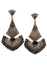 Ancient Seduction Black and Gold Earrings