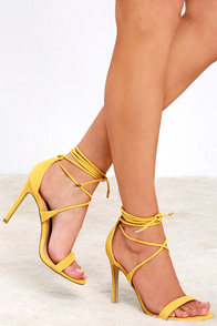 image All the Applause Yellow Suede Lace-Up Heels