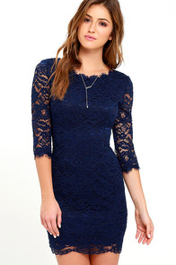 Make an Impression Navy Blue Lace Dress