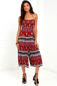 Forever Fearless Wine Red Print Midi Jumpsuit