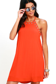 image Flawless and Grommet Coral Orange Swing Dress