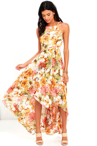 image Palms in Paradise Blush Floral Print High-Low Dress