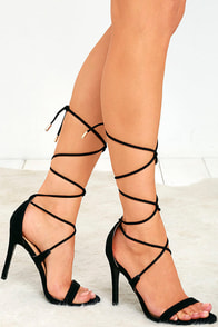 image All the Applause Black Suede Lace-Up Heels