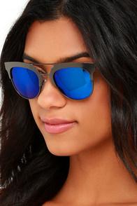 image Time Machine Gunmetal and Blue Mirrored Sunglasses