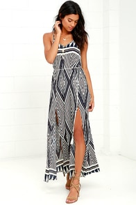 Wander With Me Cream and Navy Blue Print Maxi Dress