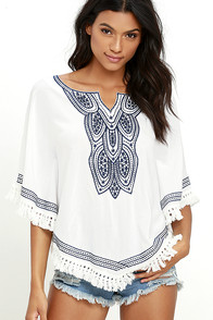 Moonless Sky Ivory Embroidered Poncho Top