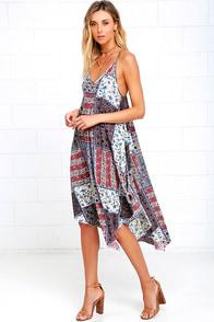 Elastic Heart Cream Print Midi Dress