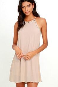 image Flawless and Grommet Beige Swing Dress