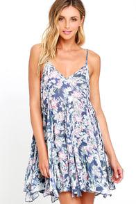 For Always Blue Floral Print Dress