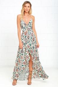 Fun Cream Dress High Low Dress Maxi Dress Floral
