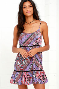 Lucky One Purple and Coral Print Dress