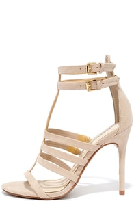 image Chinese Laundry Lacy Sand Suede Leather Caged Heels