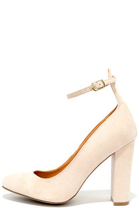 image Yes Indeed Nude Suede Pumps