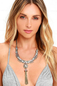 image Royal Jewels Gold and Grey Rhinestone Statement Necklace