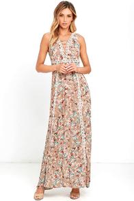 Sun Will Shine Beige Floral Print Maxi Dress