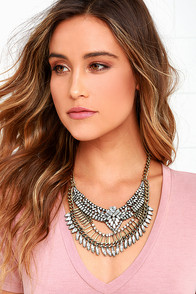 Bump Up the Glam Gold Rhinestone Statement Necklace
