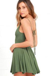 Poetry in Motion Olive Green Skater Dress