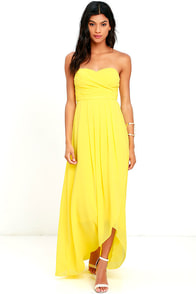 First Bliss Yellow Strapless High-Low Dress
