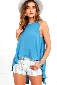 image La Vida Loca Blue Embroidered High-Low Top