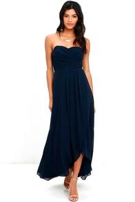 First Bliss Navy Blue Strapless High-Low Dress