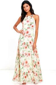 image Heaven Scent Ivory Floral Print Maxi Dress