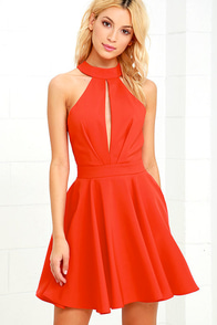 Smile Sweetly Coral Red Skater Dress