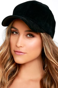 Swift and Sure Black Suede Leather Baseball Cap
