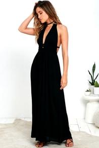 Fox Hill Black Halter Maxi Dress