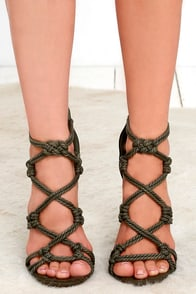 olive green heels  caged heels  rope heels  3900