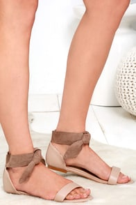 Flirtatious Behavior Natural Ankle Wrap Flat Sandals