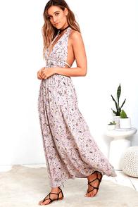 Truth Be Told Mauve Print Halter Maxi Dress