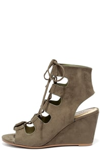 Along the Avenue Light Olive Suede Lace-Up Wedges
