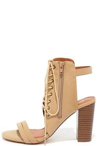image Smart Strut Camel Nubuck Lace-Up Heels