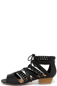image Hope and Wish Black Lace-Up Sandals