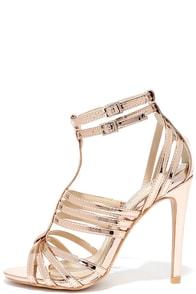 image So Divine Rose Gold Caged Heels