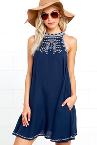 image On the Road Finn Navy Blue Embroidered Swing Dress