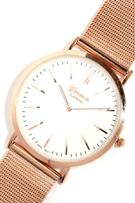 Time Quest Rose Gold and White Watch