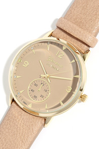 Take Your Time Gold and Taupe Watch