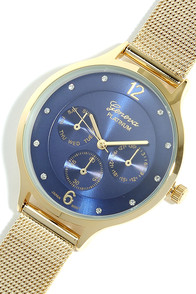 Mesh-ure of Time Gold and Navy Blue Watch