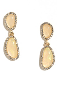 This is What You Came For Peach Rhinestone Earrings